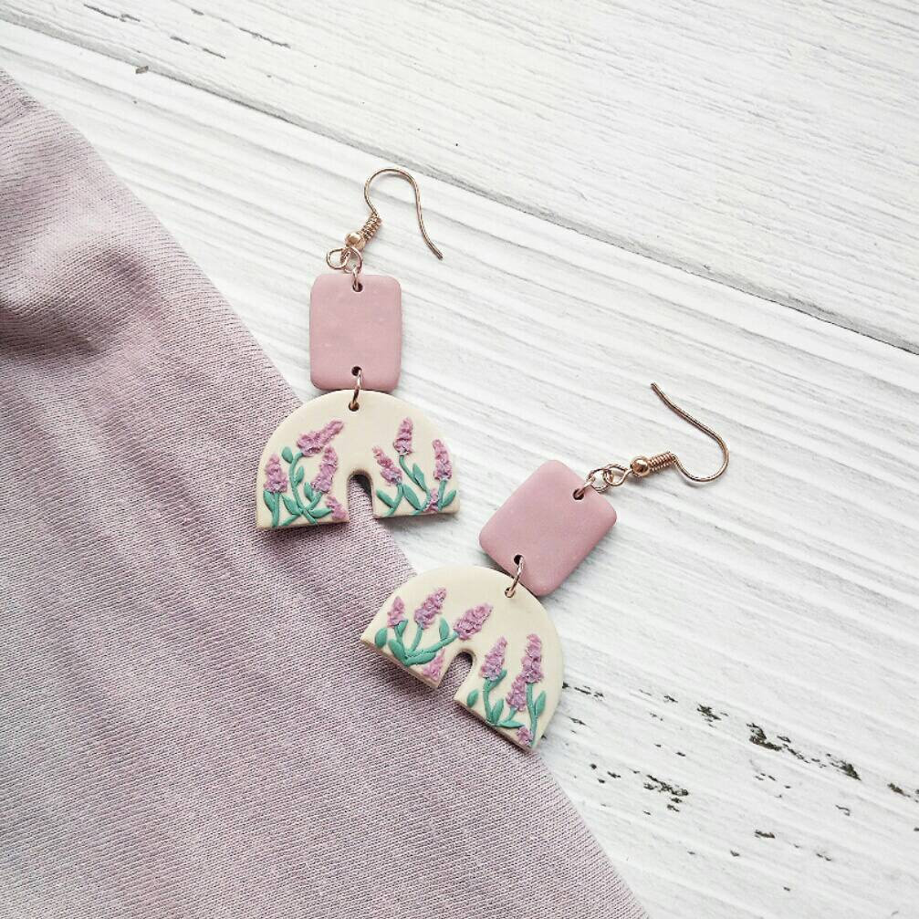 L A V E N D E R • G A R D E N - the half-U dangle polymer clay earrings | Unique Contemporary Polymer Clay Dangle Earrings