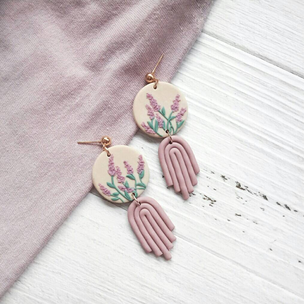 L A V E N D E R • G A R D E N - the classic drop earrings | Cute Unique Polymer Clay Earrings
