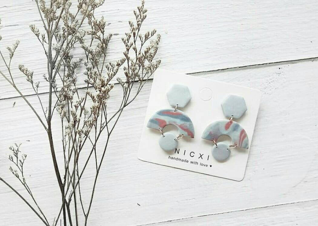 M O O D Y • B L U E S - the hail polymer clay earrings | Unique Modern Polymer Clay Dangle Earrings