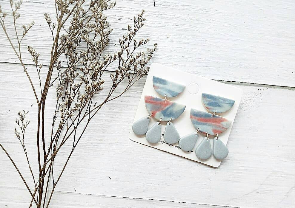 M O O D Y • B L U E S - the rain polymer clay earrings | Unique Contemporary Polymer Clay Statement Earrings