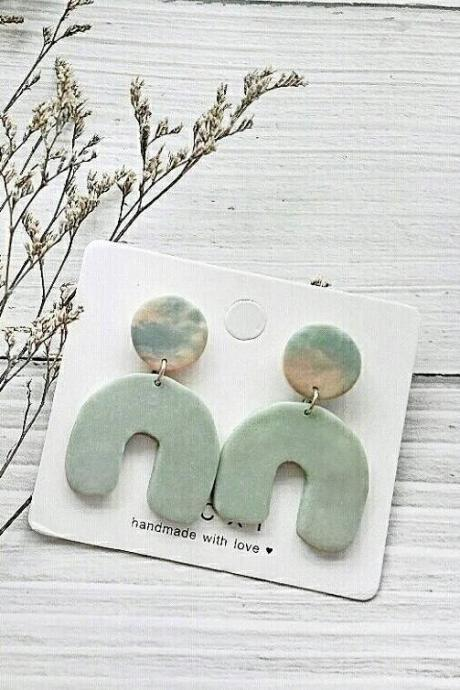 B E A C H • L I F E - the horseshoe polymer clay earrings | Contemporary Polymer Clay Drop Earrings