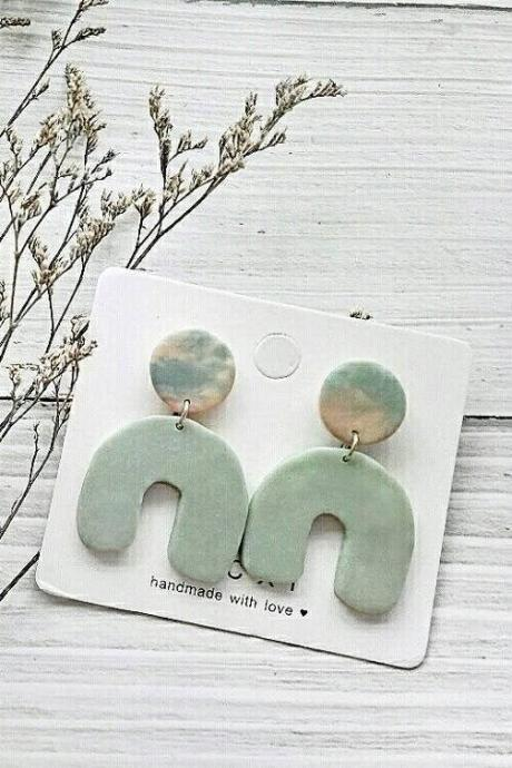 B E A C H • L I F E - the horseshoe polymer clay earrings | Geometric Sage Green Statement Earrings