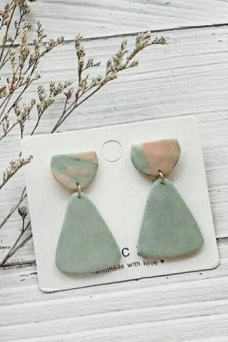 B E A C H • L I F E - the droplet clay earrings | Muted Sage Statement Polymer Clay Earring