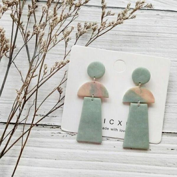 B E A C H • L I F E - the dangle earrings | Neutral Green Sage Polymer Clay Earring